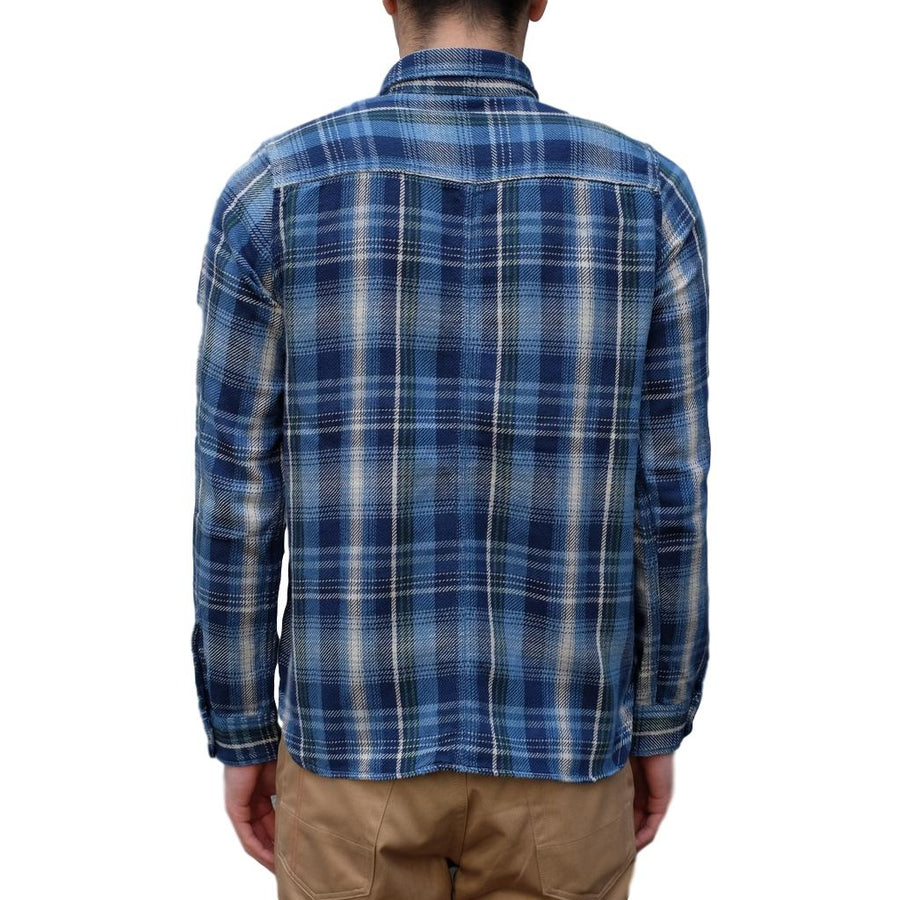 Pure Blue Japan Indigo Check Flannel Shirt (Green) - Okayama Denim Shirt - Selvedge