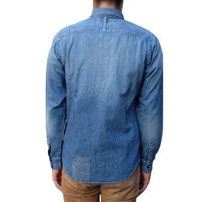 "FDMTL ""5 Year Wash"" Patchwork Denim Shirt - Okayama Denim Shirt - Selvedge"