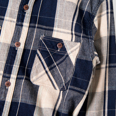 Studio D'Artisan Foxfibre® Organic Coyote Check Work Shirt - Okayama Denim Shirt - Selvedge