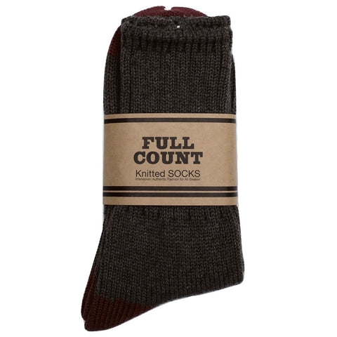 Fullcount Knitted Socks (Charcoal x Burgundy) - Okayama Denim Accessories - Selvedge