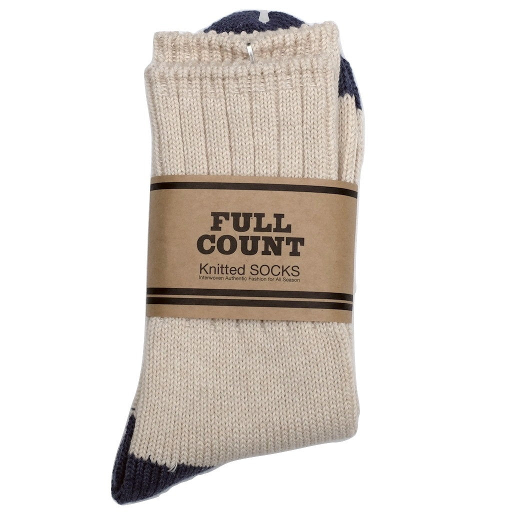 Fullcount Knitted Socks (Natural x Blue) - Okayama Denim Accessories - Selvedge