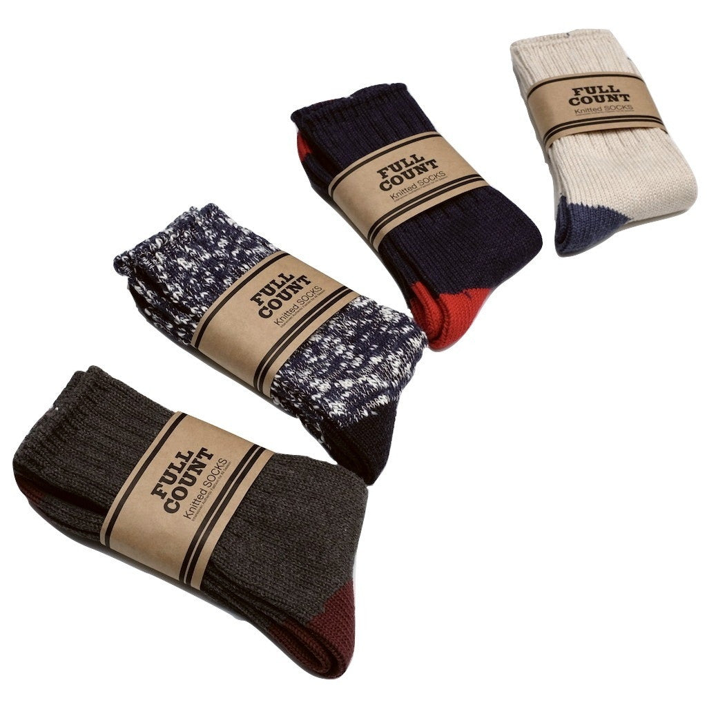 Fullcount Knitted Socks (Natural x Blue)