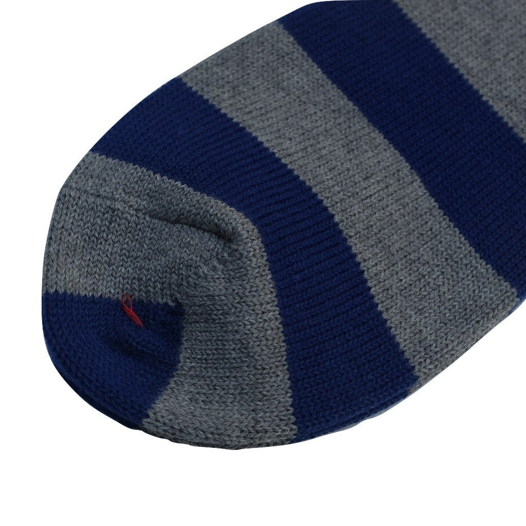 Fullcount Border Ankle Socks (Blue x Charcoal)