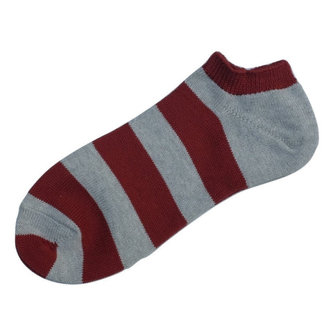 Fullcount Border Ankle Socks (Bordeaux x Gray)