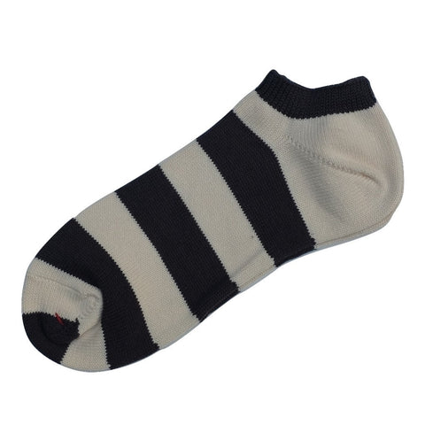 Fullcount Border Ankle Socks (Ink Black x Ivory)