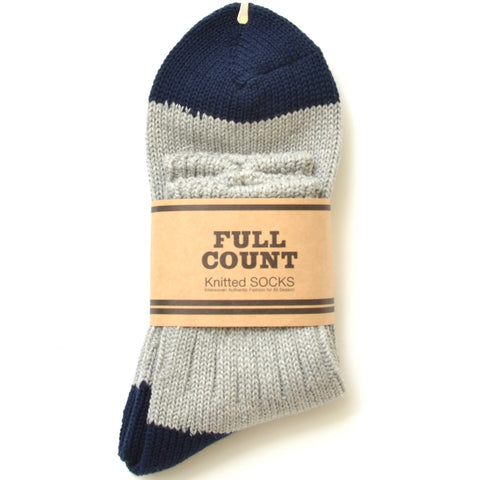 Fullcount Melange Socks (Gray x Navy) - Okayama Denim Accessories - Selvedge