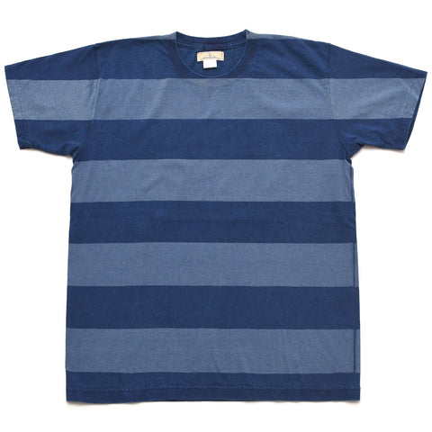 Japan Blue Indigo Tubular Border Tee - Okayama Denim T-Shirts - Selvedge
