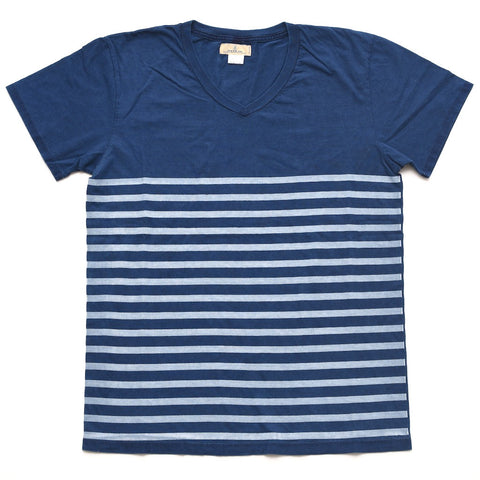 Japan Blue Indigo Tubular V-Neck Border Print Tee - Okayama Denim T-Shirts - Selvedge