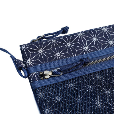 "Japan Blue ""Asanoha"" Sashiko Shoulder Bag - Okayama Denim Accessories - Selvedge"