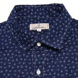 Japan Blue Indigo Discharge Floral Print Shirt