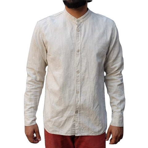 Kamikaze Attack Natural Herringbone Collarless Shirt