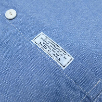 Kamikaze Attack Collarless Selvedge Chambray Shirt (Blue) - Okayama Denim Shirt - Selvedge