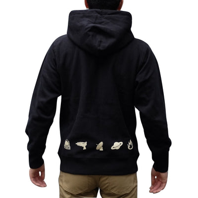 Kamikaze Attack Heavyweight 'NASA' Hoodie (Black) - Okayama Denim Sweatshirt - Selvedge