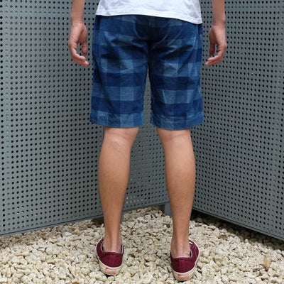 Kamikaze Attack Indigo Check Lightweight Corduroy Shorts - Okayama Denim Pants - Selvedge