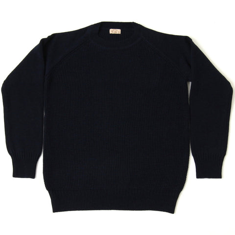 Loop & Weft Merino Lambswool Crewneck Sweater (Navy) - Okayama Denim Sweater - Selvedge