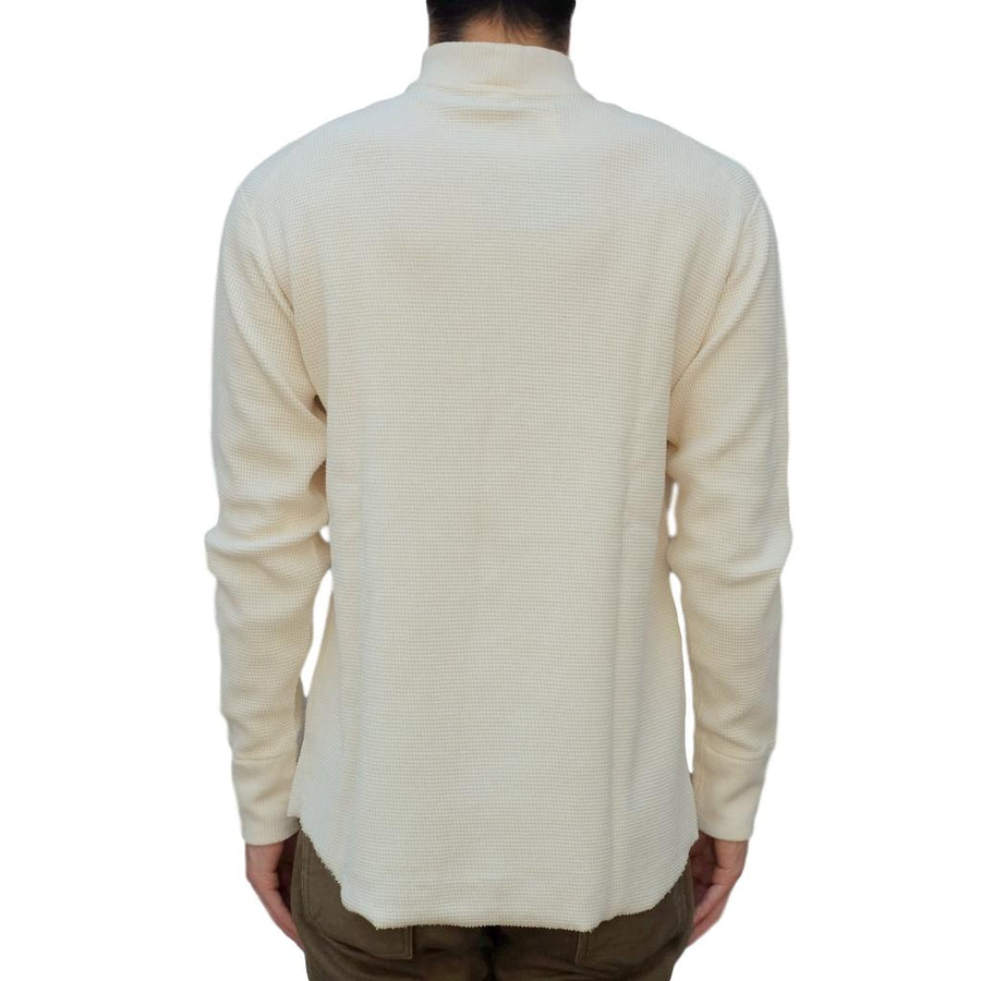 Loop & Weft Double Face Wire Mesh Mock Neck Thermal (Ivory) - Okayama Denim T-Shirts - Selvedge
