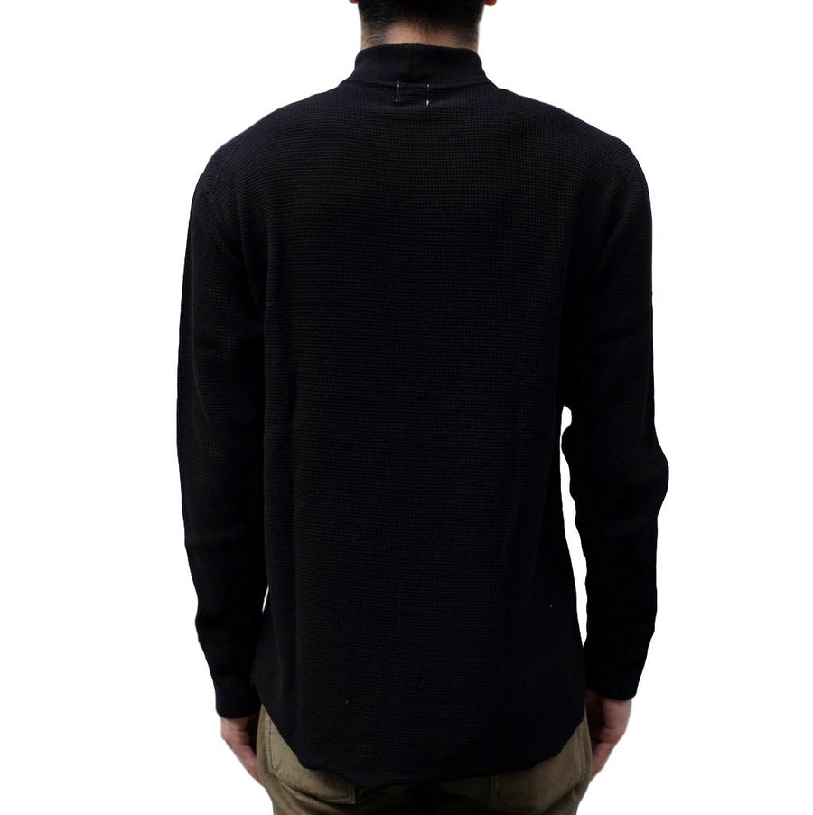 Loop & Weft Double Face Wire Mesh Mock Neck Thermal (Royal Black) - Okayama Denim T-Shirts - Selvedge