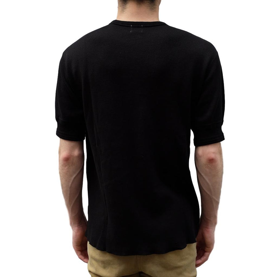 Loop & Weft Lightweight Honeycomb Thermal Tee (Black) - Okayama Denim T-Shirts - Selvedge