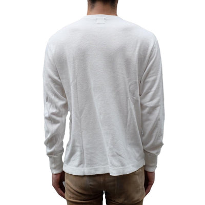 Loop & Weft Military Rib Knit LS Tee (White)