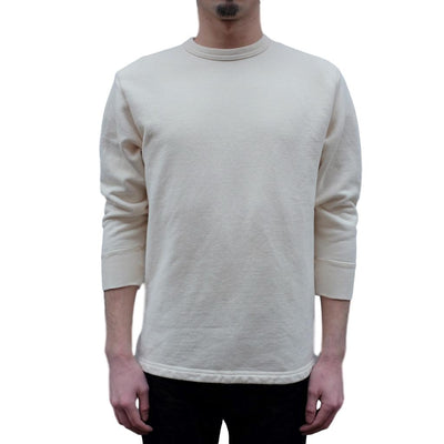 Loop & Weft Striped French Terry 3/4 Length Crewneck Sweatshirt (Ivory) - Okayama Denim T-Shirts - Selvedge