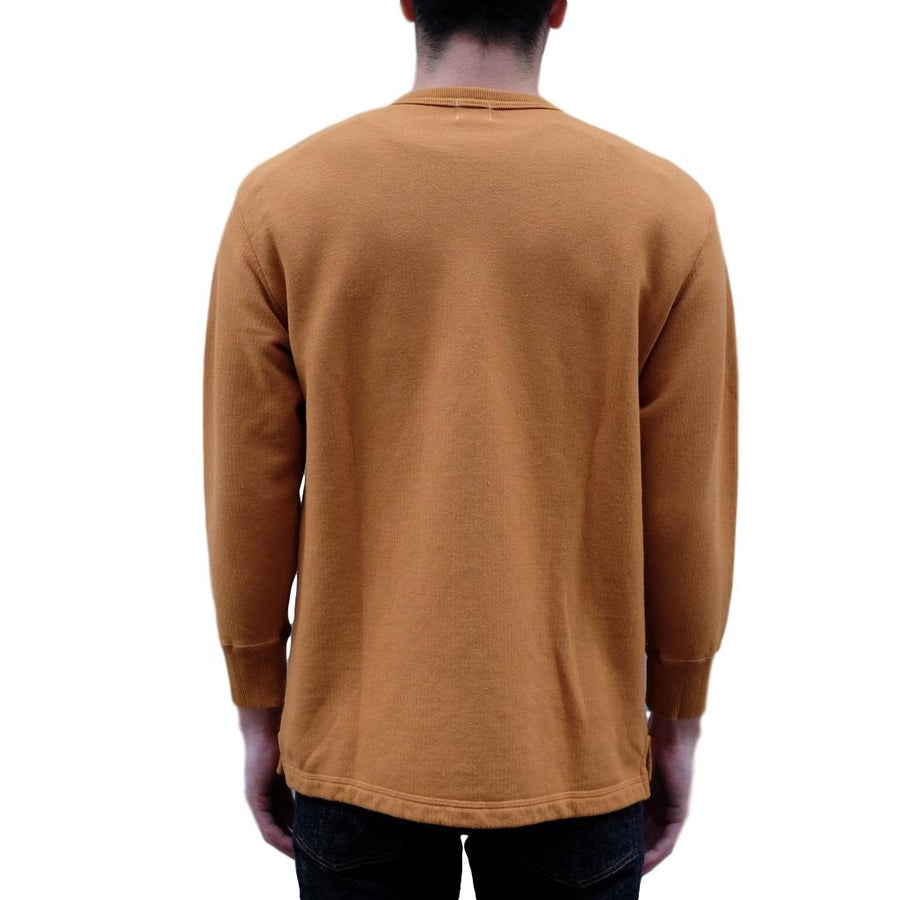 Loop & Weft Striped French Terry 3/4 Length Crewneck Sweatshirt (Mustard) - Okayama Denim T-Shirts - Selvedge