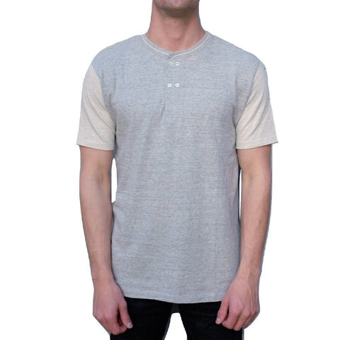 Loop & Weft LRH1018 San Joaquin Cotton Double Breasted S/S Henley (Light Gray/Oatmeal)