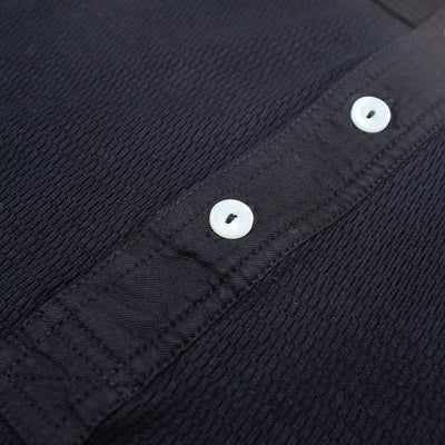 Loop & Weft Lightweight Honeycomb Thermal Henley (Black) - Okayama Denim T-Shirts - Selvedge