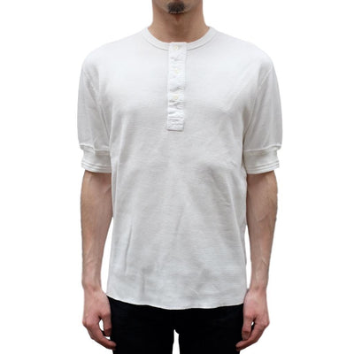 Loop & Weft Lightweight Honeycomb Thermal Henley (White) - Okayama Denim T-Shirts - Selvedge