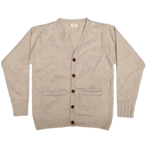 Loop & Weft Merino Lambswool Cardigan (Heather Ivory) - Okayama Denim Sweatshirt - Selvedge