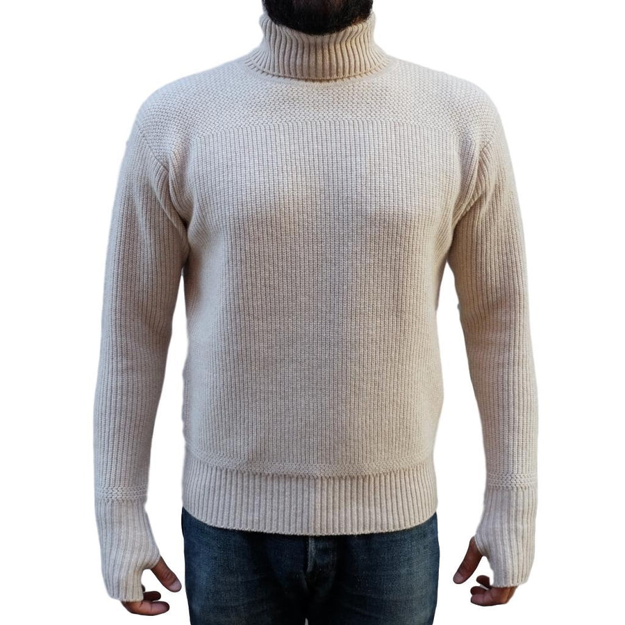 Loop & Weft Merino Lambswool Military Turtleneck Sweater (Cream)