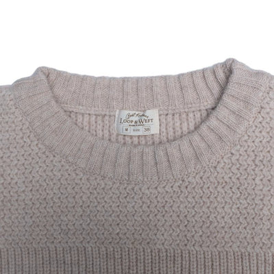 Loop & Weft Merino Lambswool Military Crewneck Sweater (Cream)