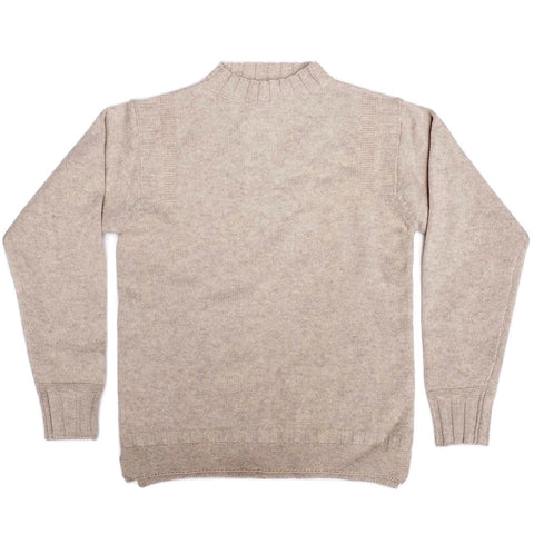 Loop & Weft Merino Lambswool Sweater (Heather Ivory) - Okayama Denim Sweater - Selvedge