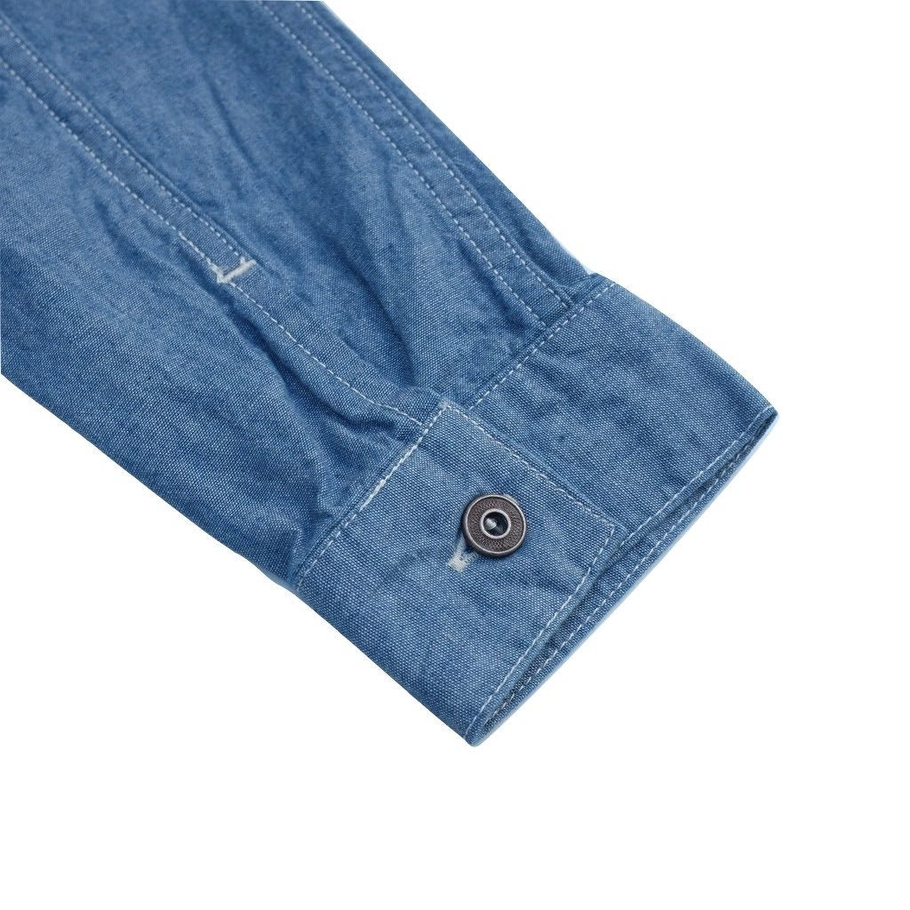 Momotaro 05-169 5oz. Chinese Button Chambray Shirt