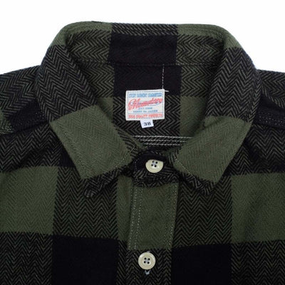 Momotaro Original Block Check Herringbone Shirt (Green)