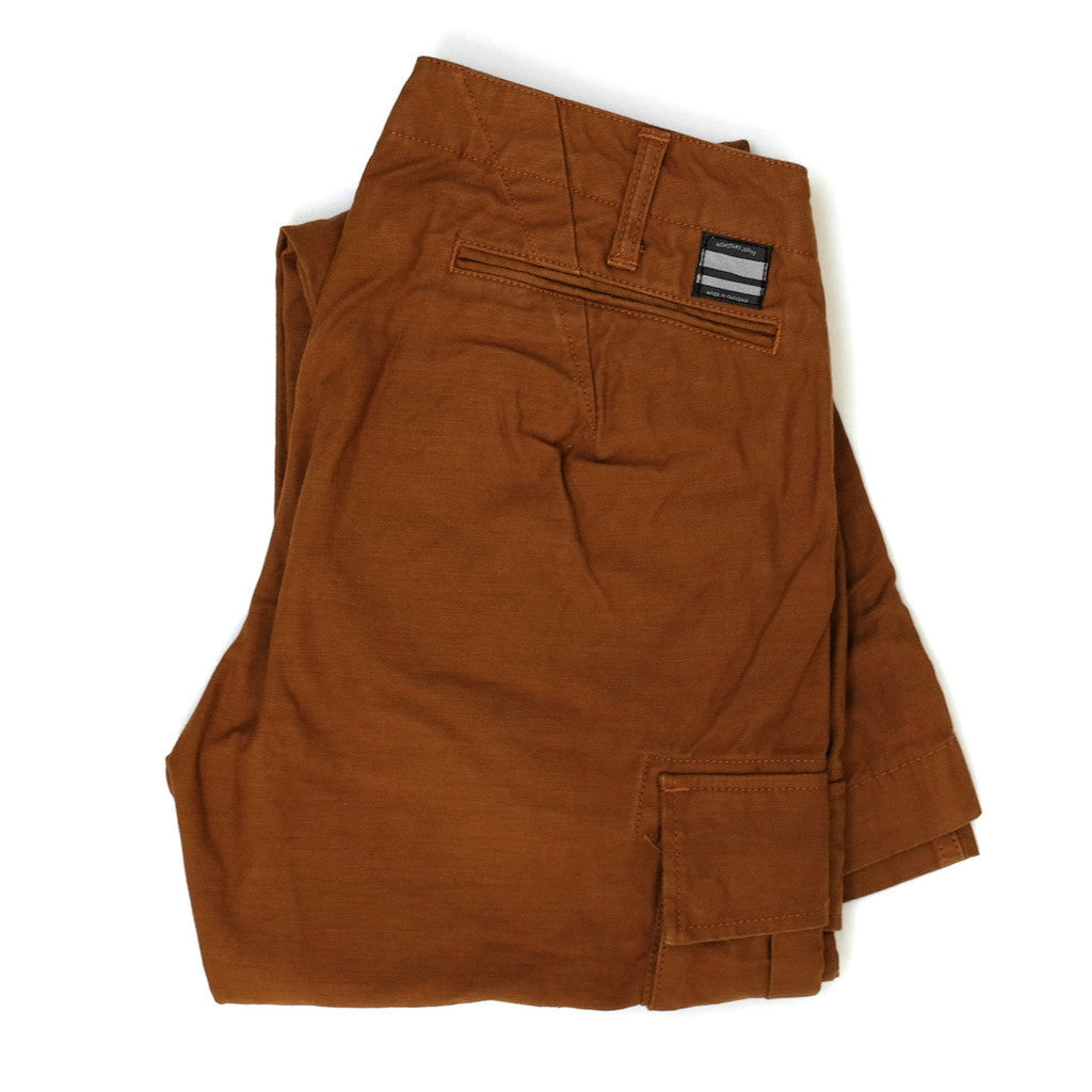 Momotaro Back Satin Brown Cargo Pants (Slim Tapered)