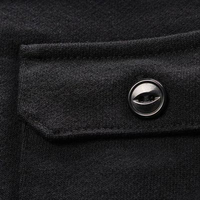 Momotaro Heavy Inlay Multi-pocket LS Tee (Black)