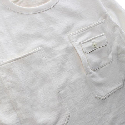 Momotaro Heavy Inlay Multi-pocket LS Tee (White)