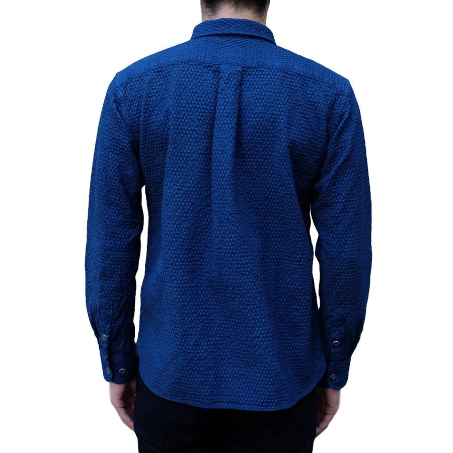 [Pre-Order] OD+MJ Natural Indigo Dyed Cotton x Linen Sashiko Shirt - Okayama Denim Shirt - Selvedge
