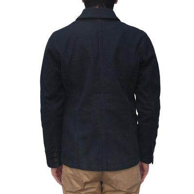 Pure Blue Japan Black Sashiko Tailored Jacket - Okayama Denim Jacket - Selvedge