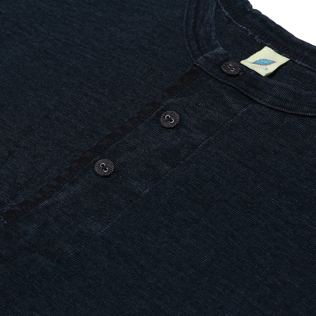 Pure Blue Japan Indigo Dyed Henley S/S Tee