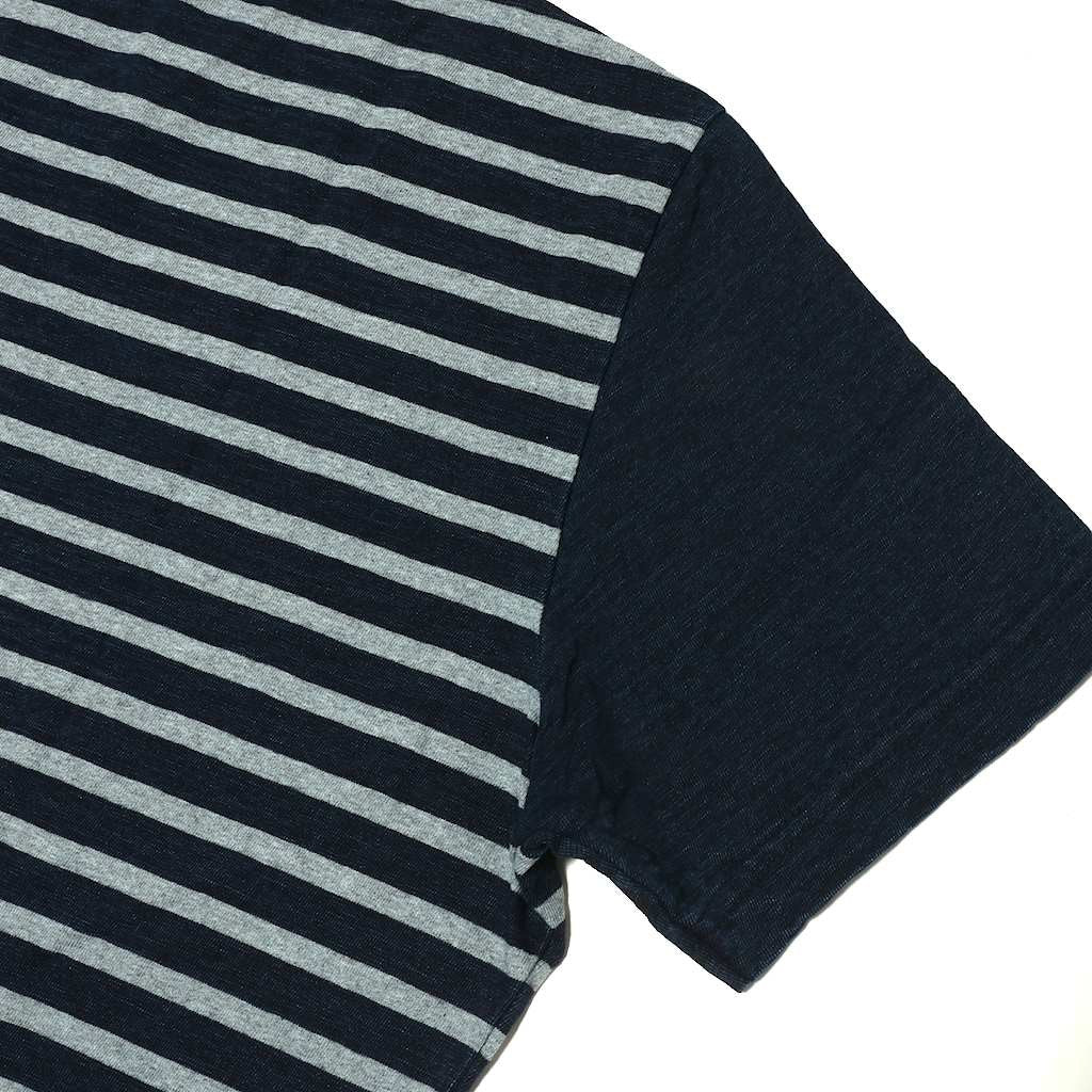 Pure Blue Japan Indigo Border V-Neck Tee