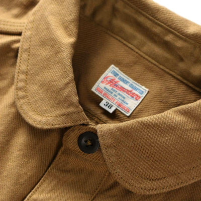 Momotaro Heather Serge Jail Pocket Shirt (Beige) - Okayama Denim Shirt - Selvedge