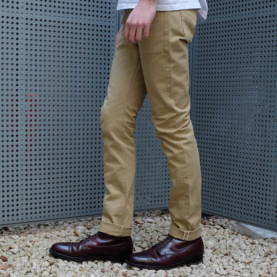 Pure Blue Japan 12oz. Selvedge Chino Pants (Beige) - Okayama Denim Pants - Selvedge