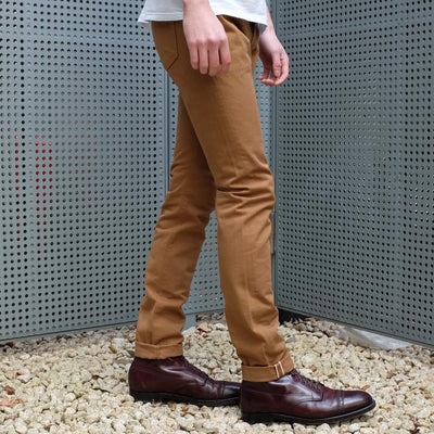 Pure Blue Japan 12oz. Selvedge Chino Pants (Camel) - Okayama Denim Pants - Selvedge