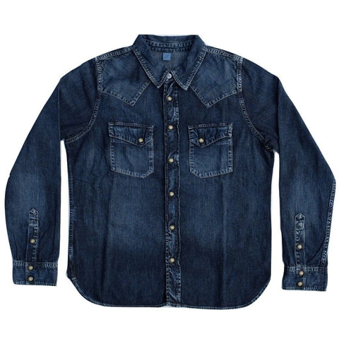 Pure Blue Japan Distressed Western Shirt