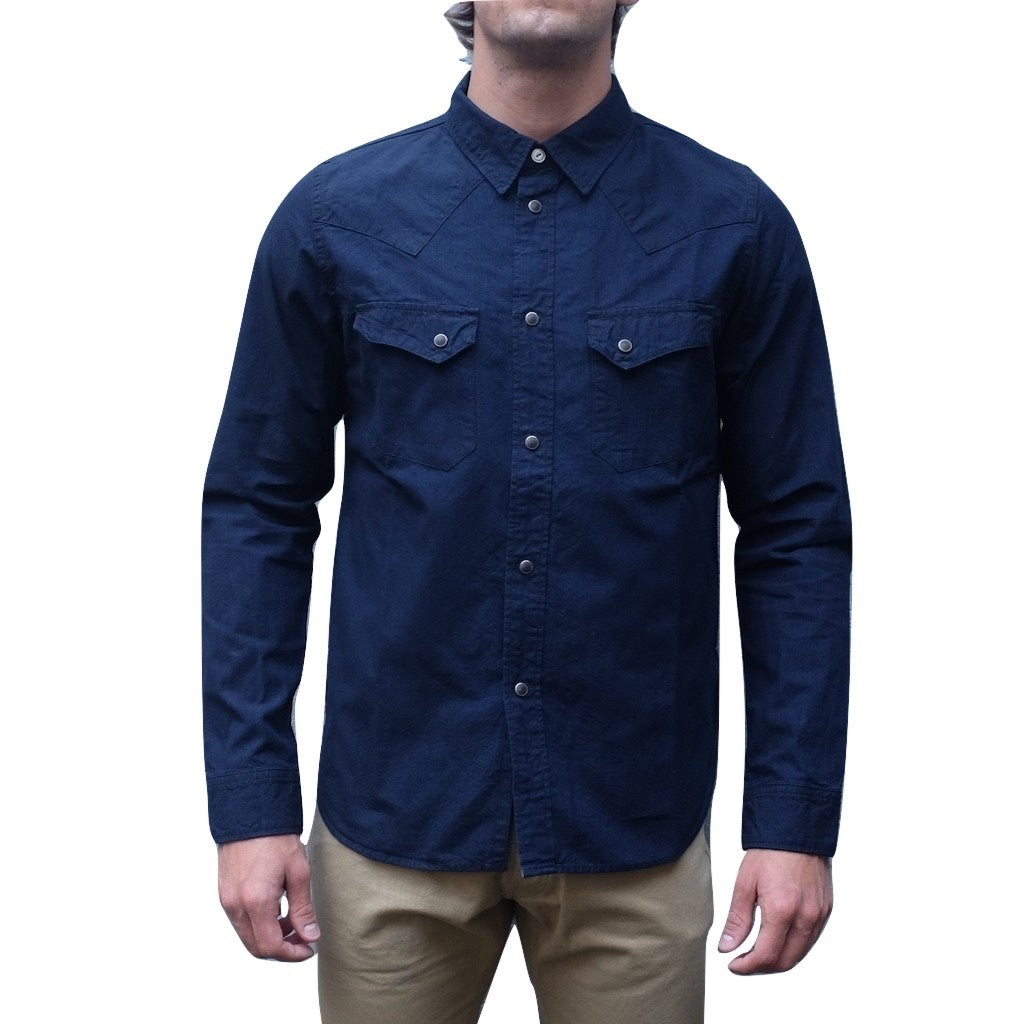 7b1b9560cb Pure Blue Japan Deep Indigo 5oz. Selvedge Chambray Western Shirt ...
