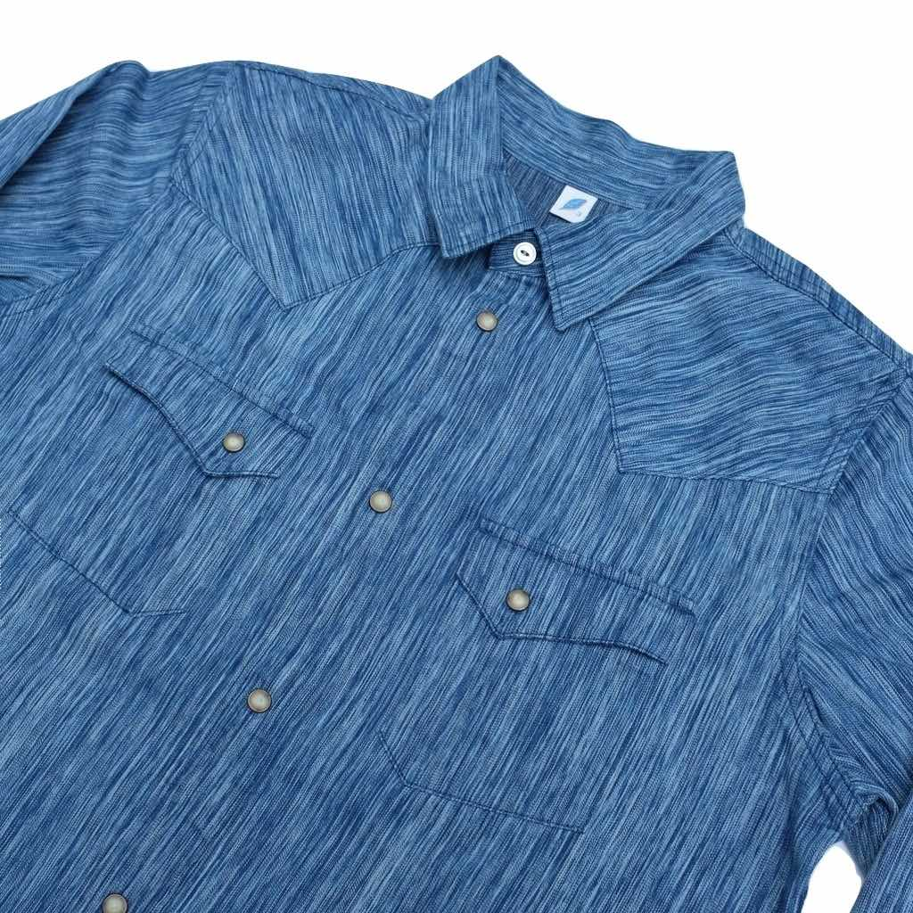 281e48ca3c Pure Blue Japan 6oz. Kasuri Indigo Dyed Selvedge Western Shirt ...