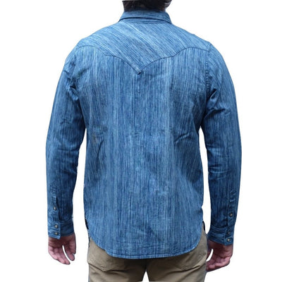 Pure Blue Japan 6oz. Kasuri Indigo Dyed Selvedge Western Shirt