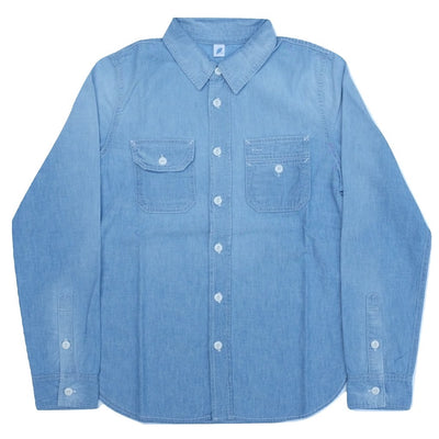 Pure Blue Japan Distressed Selvedge Chambray Work Shirt - Okayama Denim Shirt - Selvedge