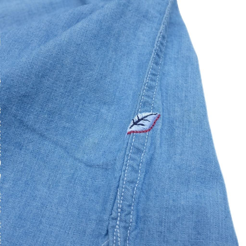 Pure Blue Japan Distressed Selvedge Chambray Work Shirt